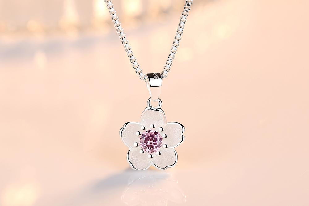 HTB1g7XIanjxK1Rjy0Fnq6yBaFXau - Cherry Blossoms Necklace Flower Silver Chain Color Pink Purple Crystal Pendant Necklaces Jewellery Collier Femme