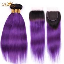 ★  T1b Фиолетовый Ombre Пучки прямых волос с закрытием Пучки человеческих волос с закрытием Кружева