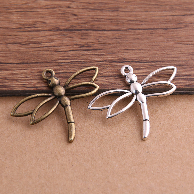 PULCHRITUDE 16pcs/lot Fashion Two Color Charms Pendants Findings 27*33mm Jewelry Dragonfly Charms