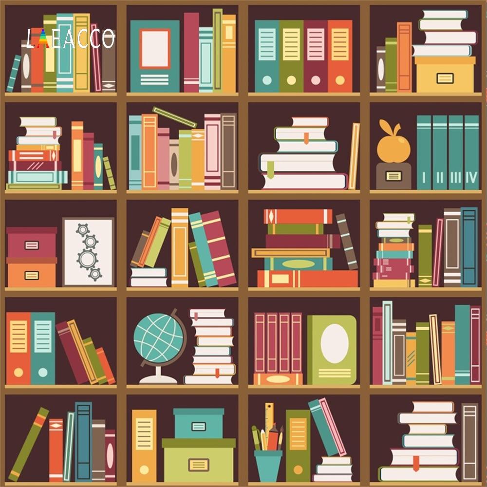 Laeacco Baby Cartoon Bookshelf Stationary Study Portrait