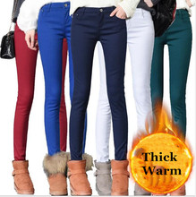 2020 Thick Pencil Pants For Women Winter Warm Skinny Femme Trousers With Velvet Inside Solid Slim Female Pants Plus Size Black cheap Viscose Cotton Full Length CN(Origin) W024 Casual Flat Ages 18-35 Years Old Fake Zippers Pockets Button Herringbone Button Fly