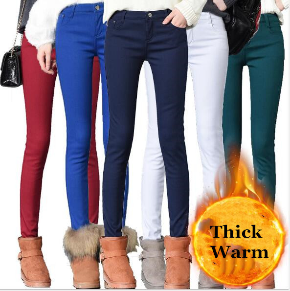 Winter Trousers Women With Velvet Inside Thick Warm Hot Pencil Pants Mujer Slim Plus Size Ladies Casual Pants Candy Color 26-32