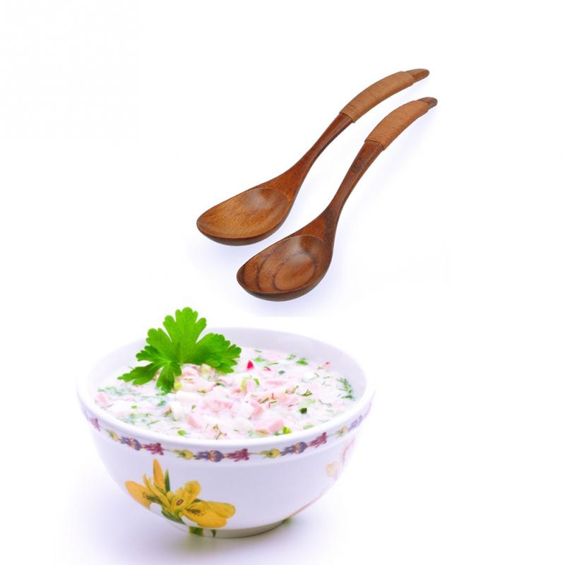 Wooden Spoon Chinese Lacquer Tableware Heat Resistant Wood Soup Spoon Brown khaki Handle Kinking Style Spoon Drink Soup Coffee in Spoons from Home Garden