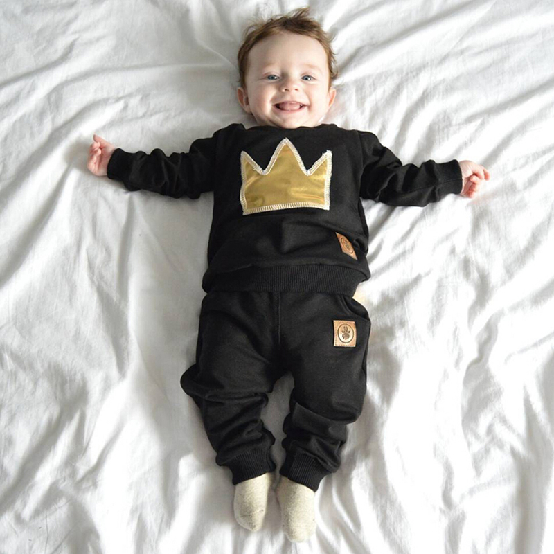 2018 baby boy long-sleeved clothing top + pants 2 pcs sport suit childrens clothes set newborn crown childrens clothing