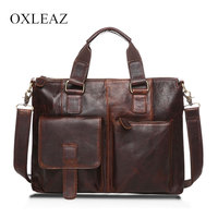 OXLEAZ Vintage 14 Real Leather Document Briefcase Retro Men Business Bags Mens Handbags Genuine Cow Leather Bag for Computer