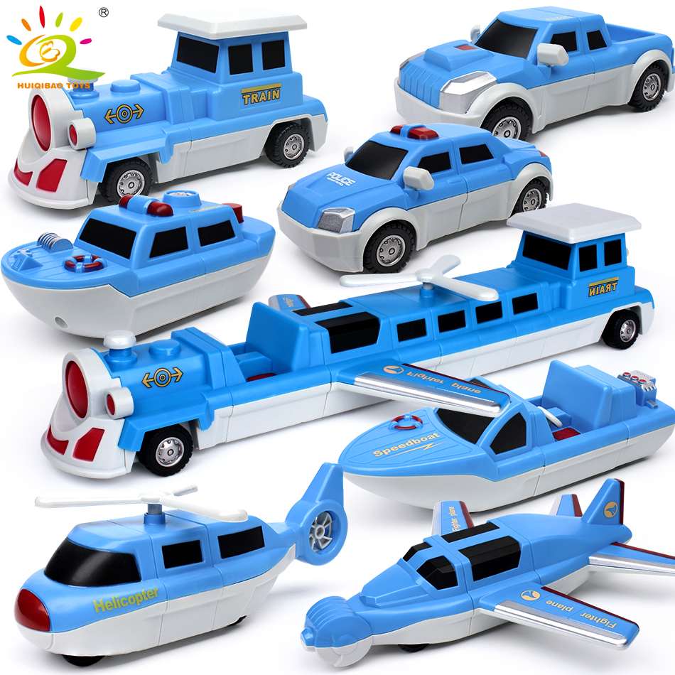 7PCS City Police Construction Vehicles Magnetic Building Blocks DIY Magic Train Truck Boat Models Educational Toys