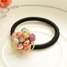 New Arrival 1 Pc Women Rhinestones Flower Rubber Hair Bands Ponytail Gum Headwear Elastic Fashion Hair Jewelry