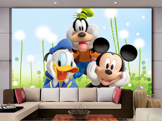 Custom papel DE parede infantil,the mouse and the old duck for the children's room boys and girls bedroom wall fabric wallpaper