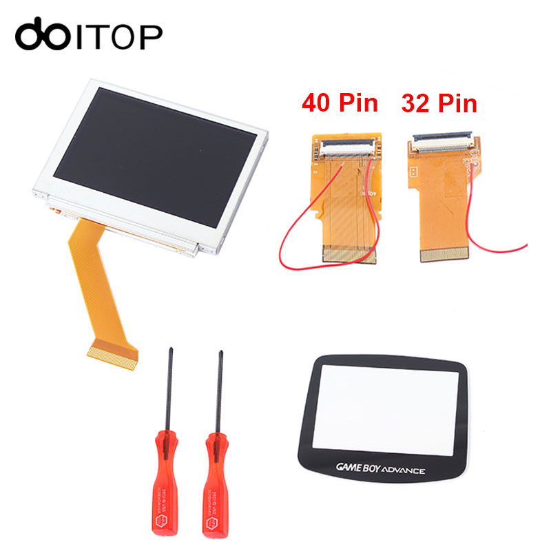 DOITOP Highlight LCD Parts Kit for GBA SP AGS 101 Highlight LCD Screen Brighter Backlit Screen with 40 Pin 32 Pin Ribbon Cable a gauge 7 inch lcd at070tn94 highlight navigation screen screen