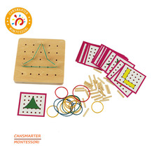 Wooden Toy Games Montessori Board Kids Creative Rubber Boards With Cards Education Preschool Learning Maths Sensorial SE069