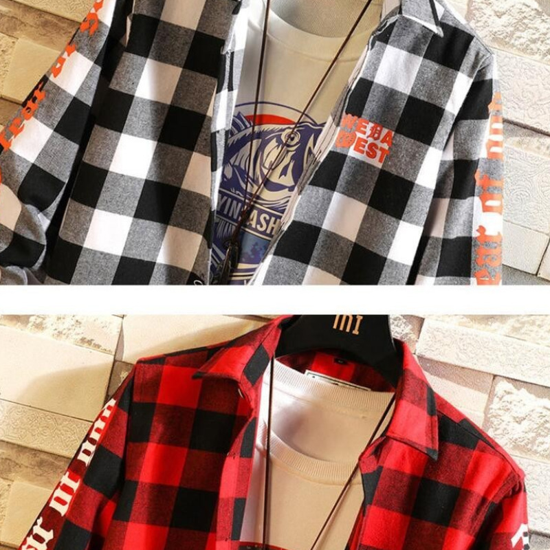 0164 Spring Black And White Plaid Shirt For Men Long Sleeves Harajuku Streetwear Hip Hop Shirt Man Cotton Plus Size 4XL in Casual Shirts from Men 39 s Clothing