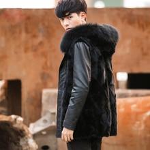 2016 European and American Trendy Man Winter Jacket Coat fashion Man Faux Fur Vest coat T0585