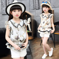 Children S Girls Summer Suit New Girls Sets Clothing 4 14 Years Kids Chiffon Tops Shorts