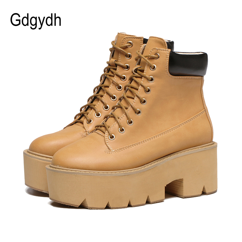 Gdgydh Autumn Women Boots Platform 2017 New Fashion Lace Up Short Booties Black Ladies Shoes Casual Riding Ankle Boots Sewing fall flat black waterproof 2017 women shoes retro front lace up casual ankle boots autumn patent leather chunky booties vintage