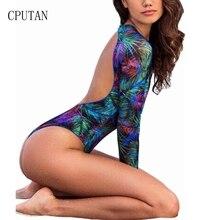 цена 2019 One Piece Swimsuit Long Sleeve Swimwear Women Bathing Suit Backless Bodysuit Print Floral Swimming Surfing Suits Beach Wear онлайн в 2017 году