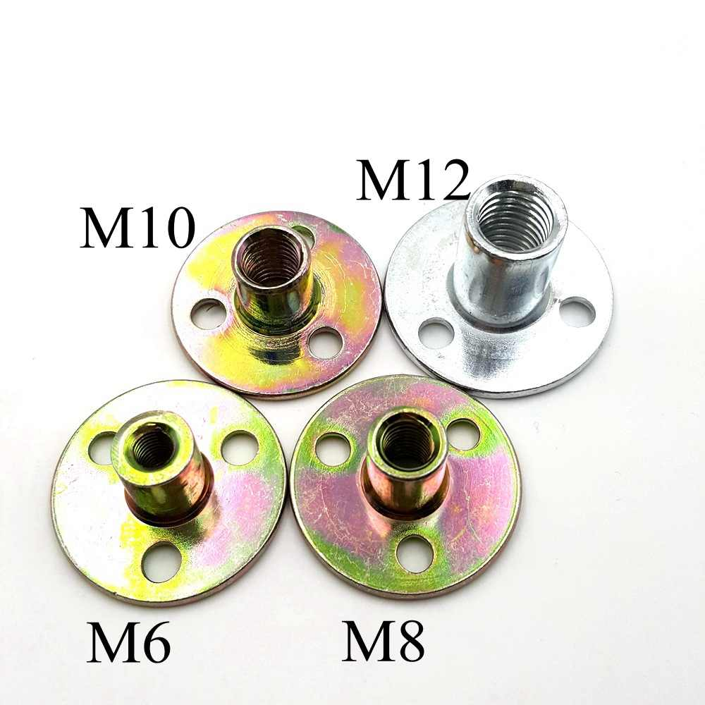 QFDM Durable Non-Loose nut 10Pcs M8x22x2mm M10x25x1.8mm Brad Hole Tee Nut Round Base Screw-in T-Nut Carbon Steel for Rock Climbing Holds Easy to use Size : M8x22