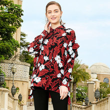цена на 100% Silk Print Single Breasted Irrgular Loose Straight Blouse 2019 New Women Spring Office Lady Work Long Sleeve Shirts