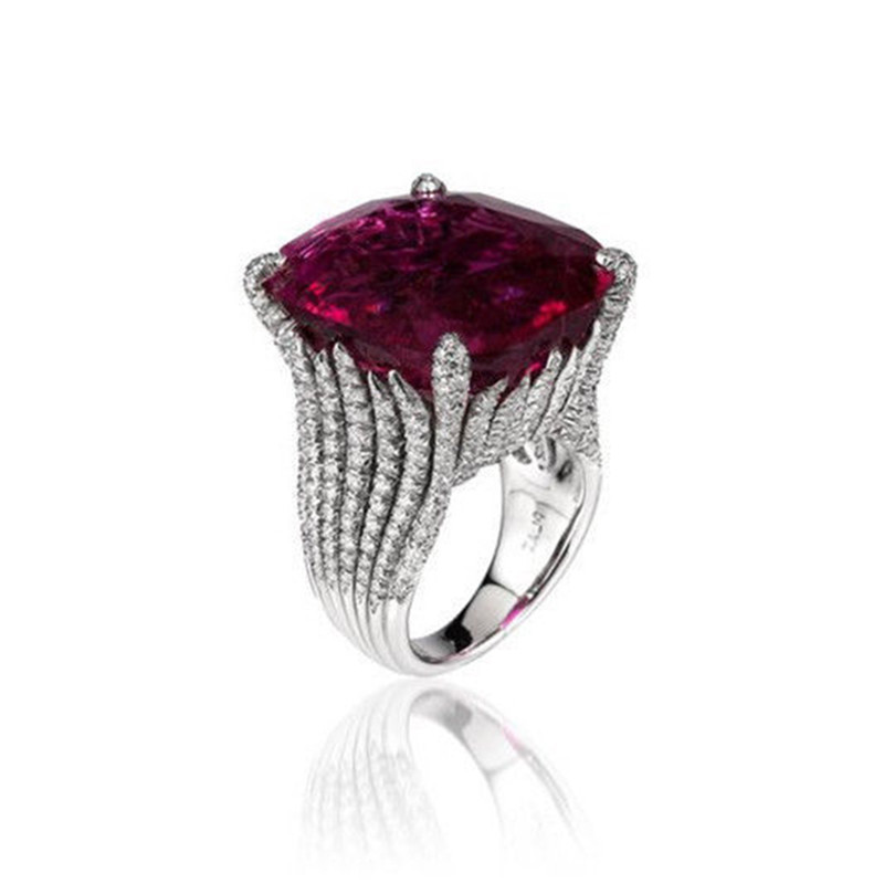 BOAKO Large Purple Stone Engagement Rings High Quality Bright Silver Stripe Rings Bague For Women Girl Party Ring Jewelry X7-M2