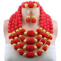 Conjunto de joyería de cuentas africanas de boda nigeriana roja con cuentas de cristal de color dorado para mujer conjunto de joyería Africana envío gratis WD024