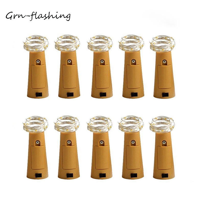 Hot Sale 10 Pcs/lot Wine Bottle Lights Cork Shaped Starry LED String Fairy Light For Holiday Wedding Party Decoration Lights