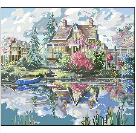 Embroidery Package Hot Sell Best Quality  Cross Stitch Kits Villa Lakeside Flower Tree Free Shipping