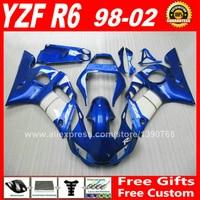 Custom paint for YAMAHA R6 fairings kit 1998 2002 1999 2000 2001 plastic parts 98 99 00 01 02 fairing kits S2X2
