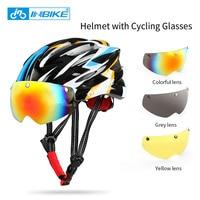 INBIKE Cycling Helmet Bicycle Helmet With Cycling Glasses Ultralight Integrally Molded Road Mountain Bike Helmet Casco