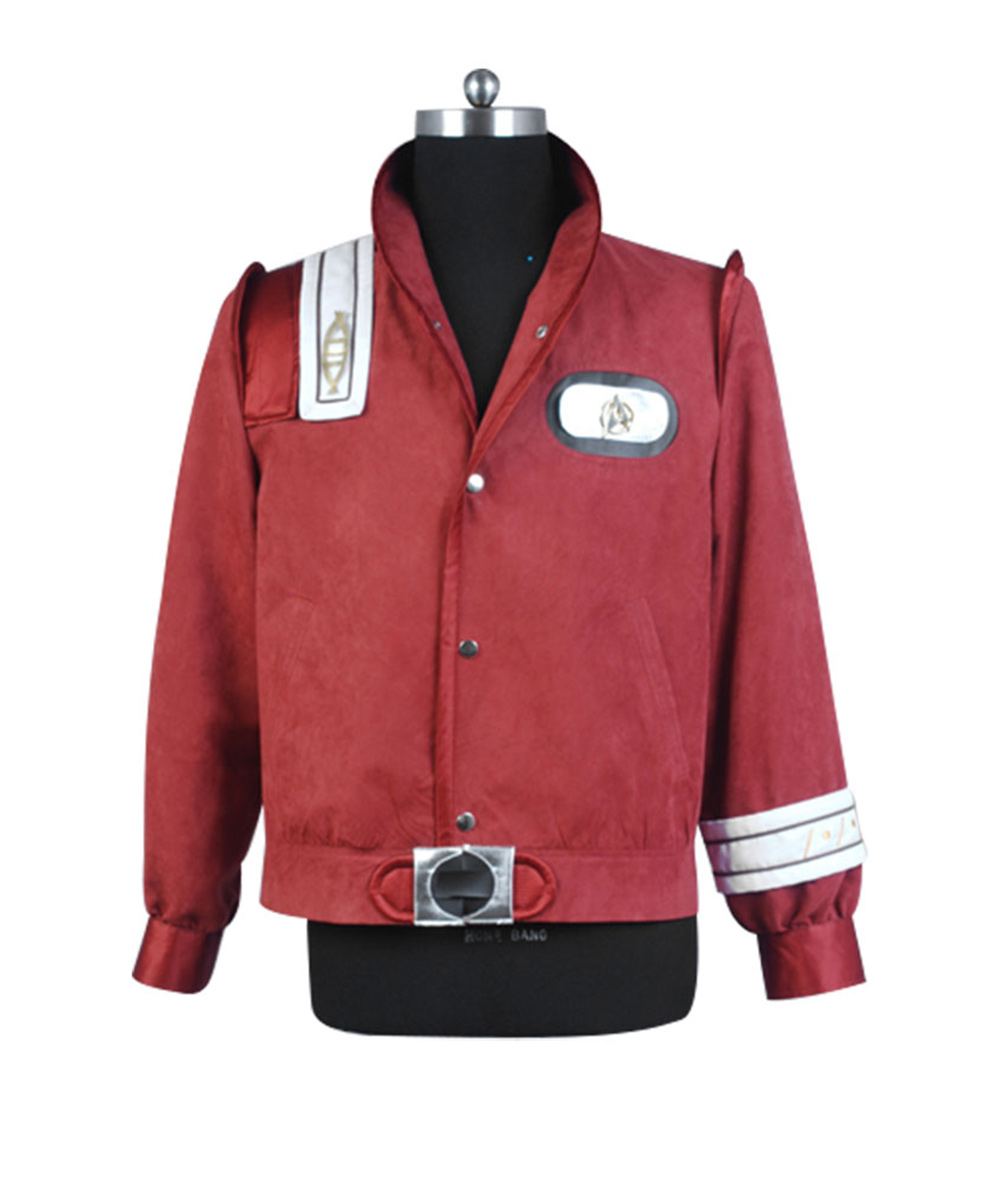 Star Trek III-V Bomber Uniform Adult Wine Red Coat Jacket For Men Halloween Costume Custom Made Free Shipping Jackets Coats