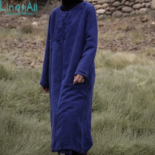 Linen clothing women s linen and cotton blue vintage embroidery autumn and winter coat outerwear