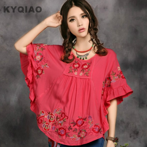 KYQIAO Plus size women clothing 2017 women loose ethnic brand red blue white bat sleeve embroidery blouse Chinese clothing store