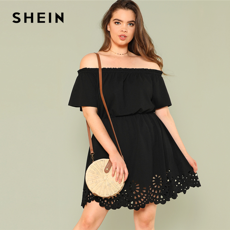 SHEIN Laser Cut Scalloped Bardot Dress 2018 Summer Off the Shoulder Short Sleeve Dress Women Plus Size Black Solid Casual Dress