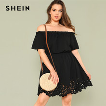 5150142c33 SHEIN Solid Ruffle Off the Shoulder Plus Size Scalloped Hem Elegant Women  Dress 2018 Summer Short Sleeve Casual Bardot Dresses