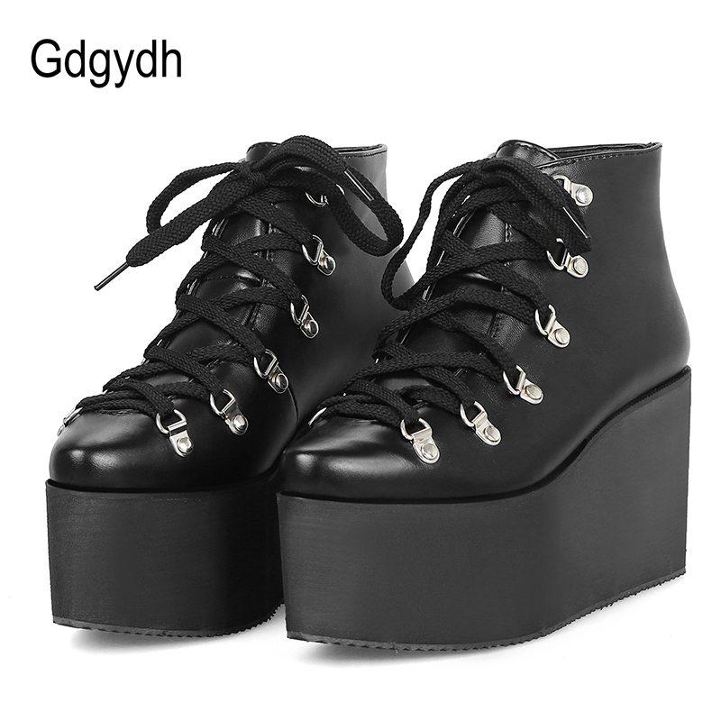 Gdgydh Womens Gothic Shoes Pointed Toe Sexy Rivet Platform Wedges Boots Woman Lacing Punk Leather PU Ankle Boots Big Size 43Gdgydh Womens Gothic Shoes Pointed Toe Sexy Rivet Platform Wedges Boots Woman Lacing Punk Leather PU Ankle Boots Big Size 43