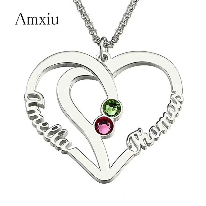 Amxiu Personalized Name Necklace with Birthstones Engrave Two Names Necklace 925 Silver Jewelry Heart Pendant Necklace For WomenAmxiu Personalized Name Necklace with Birthstones Engrave Two Names Necklace 925 Silver Jewelry Heart Pendant Necklace For Women