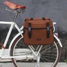 Tourbon Vintage Bike Pannier Bag Bicycle Motorcycle Rear Backseat Luggage Rack Double Bags Waterproof Nylon Shoulder Bag цена