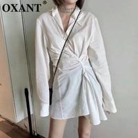 OXANT Women's Shirt Dresses Fashionable Temperament Light Mature Lapel V Neck Long Sleeve Shirt Receives Waist Irregular Drape