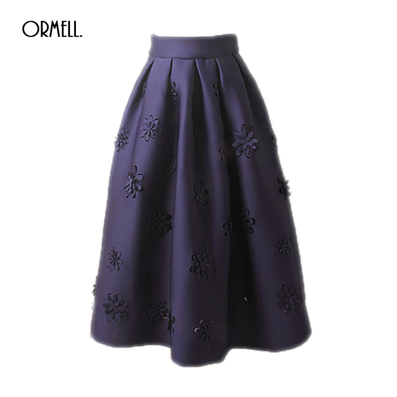ORMELL A Line Space Cotton Flare Pleated Skirt Fashion Street Style Womens Solid Plain Casual Vintage Elegant Floral Midi Skirt ...