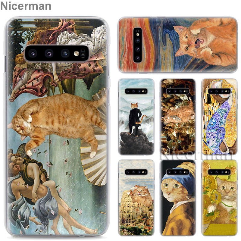 Phone <font><b>Case</b></font> for <font><b>Samsung</b></font> <font><b>Galaxy</b></font> S10e S10 S8 S9 Plus S6 S7 Edge A40 A50 A70 M20 Cover funny Pat Cat <font><b>Art</b></font> painting Colorful Cute Hard image