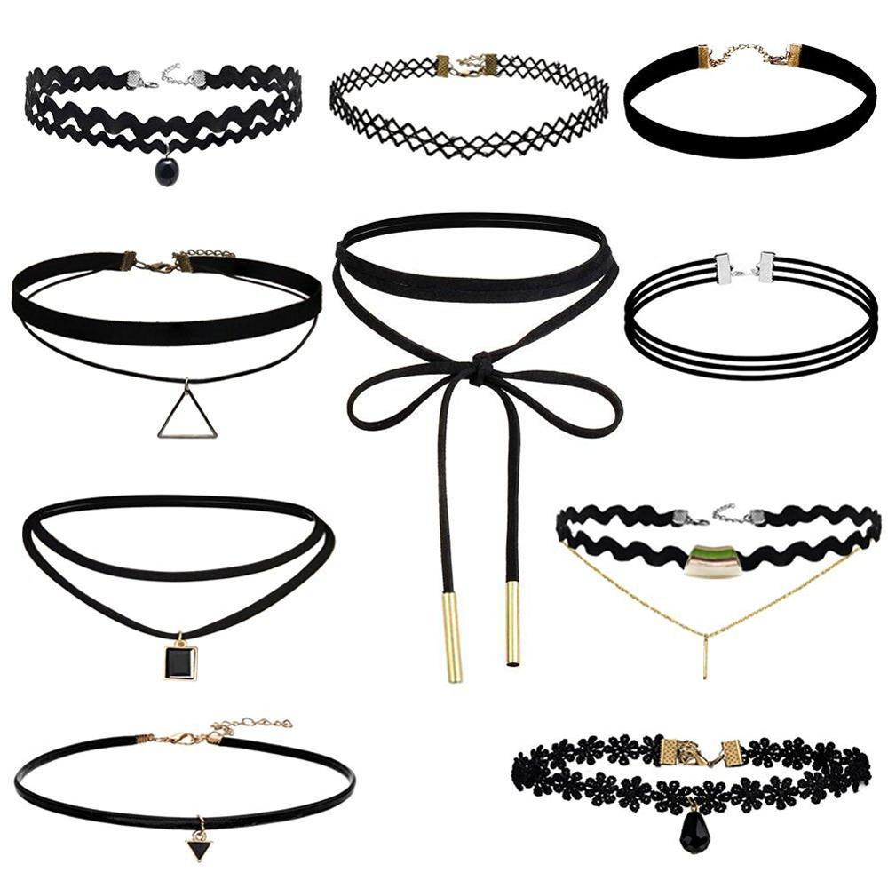 Terciopelo negro Collar de Gargantilla Tatuaje Lace Collar Collar para Las Mujeres Joyería