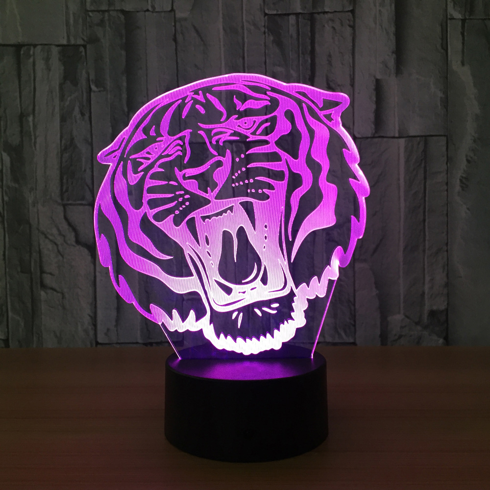 Seven Colors Home Decor Lighting 3D Holiday Gift LED Lights Novelty Tiger Head Shaped Lamp Table Lamp USB Christmas Night Light