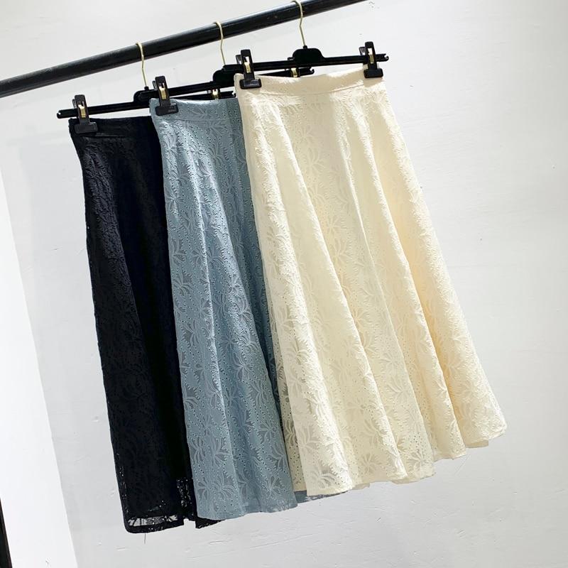 female spring/summer 2019 new A word skirt high waist thin long joker net veil long lace skirts