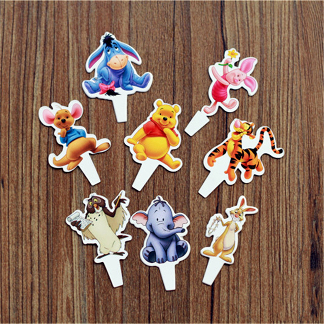 24pcs Winnie Pooh Cupcake Toppers With Bamboo Cartoon Ice Kids