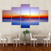 Modern HD Printed Wall Art Pictures 5 PiecePcs Lake Rosy Sky Sunset Home Decor Frame Canvas Painting Poster For Living Room