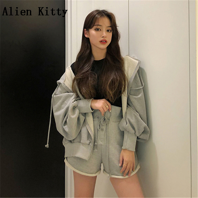 Alien Kitty 2018 Summer Fashion Two Piece Set Solid  Hooded Sweatshirts Tops+ High Waist Drawstring Shorts Sets Work Women Suit