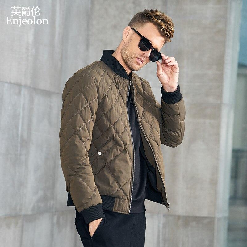Enjeolon marka zima bawełny kurtka watowana mężczyźni grube geometryczne płaszcz z kapturem mężczyzna pikowana kurtka zimowa płaszcz 3XL MF0703 w Parki od Odzież męska na  Grupa 2