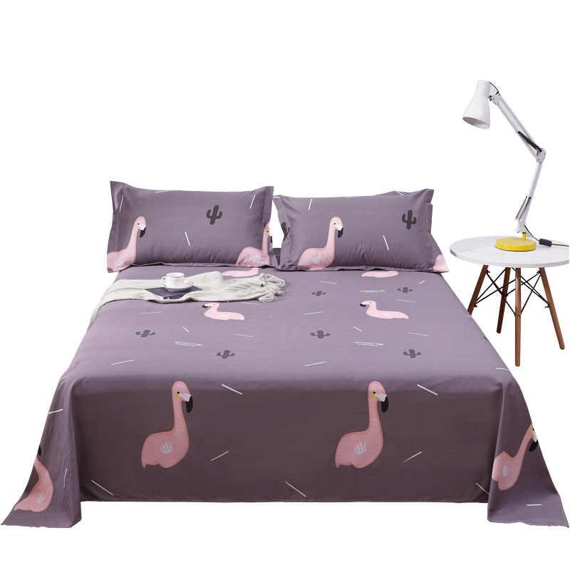 Цельнокроеное платье из 100% хлопка с рисунком Фламинго плоской подошве для детей взрослых один двойной Cute Birds кровать плоские простыни XF631-7