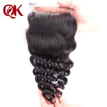 QueenKing Hair Brazilian Remy Hair Lace Closure Deep Wave 4″x 4″ 10-18 Inches Bleached Knots Human Hair Closure Natural Color