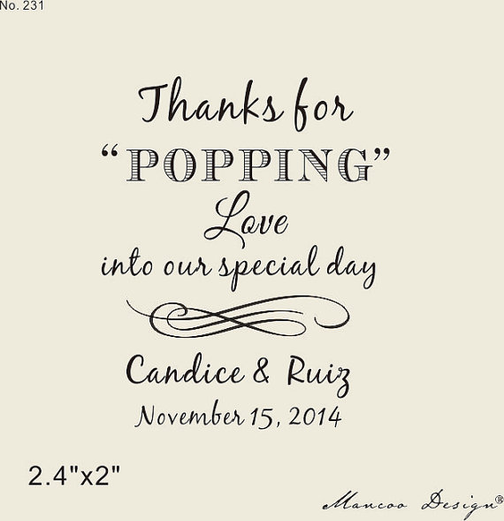 Love Is Popping Rubber Stamp Custom Popcorn Bag Sack Weddings Diy Wedding 2 4 X2 Stamps Thanks For In From Home Garden On