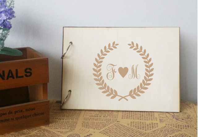 Personalized Rustic Guestbook Wreath Design Wooden Wedding Bridal And Groom Photo Al Custom