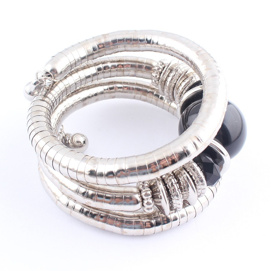 18 Tibetan Silver Snake Bracelets for Women Men Resin Inlay Simulated Pearl Beads Flexible Bangles Pulseras Mujer B581 13